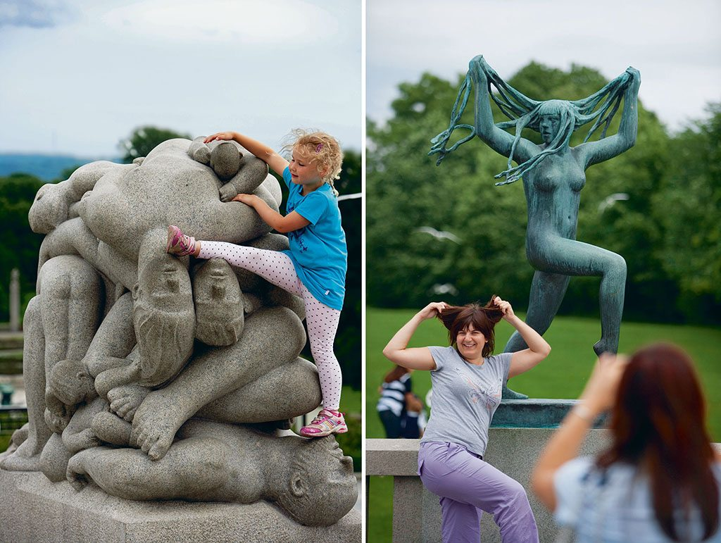 Gustav Vigeland's bronze, granite, and wrought-iron sculptures (left), 212 in all, are spread over 80 acres of Frogner Park. Human relationships were the very essence of the sculptor's work and many of Vigeland's more complex pieces feature human bodies entangled, piled together, or carrying each other in precarious positions; Vigeland's exuberance is evident in sculptures like this one (right) of a woman playing with her hair. Photo: Abo Zaunders/Corbis/Iimagelibrary (child); Holder Leue/Lonely Planet Images/Getty Images (woman).