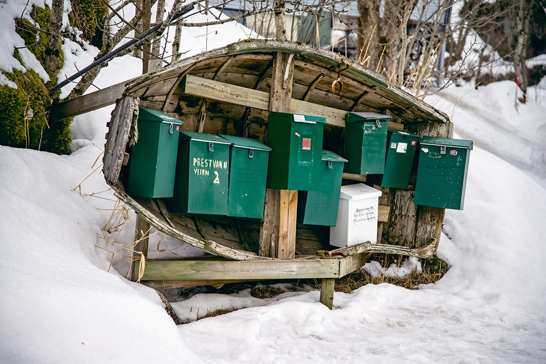 Mailboxes, norwegian fishing villages, photo by Yamuna Dilip Phal