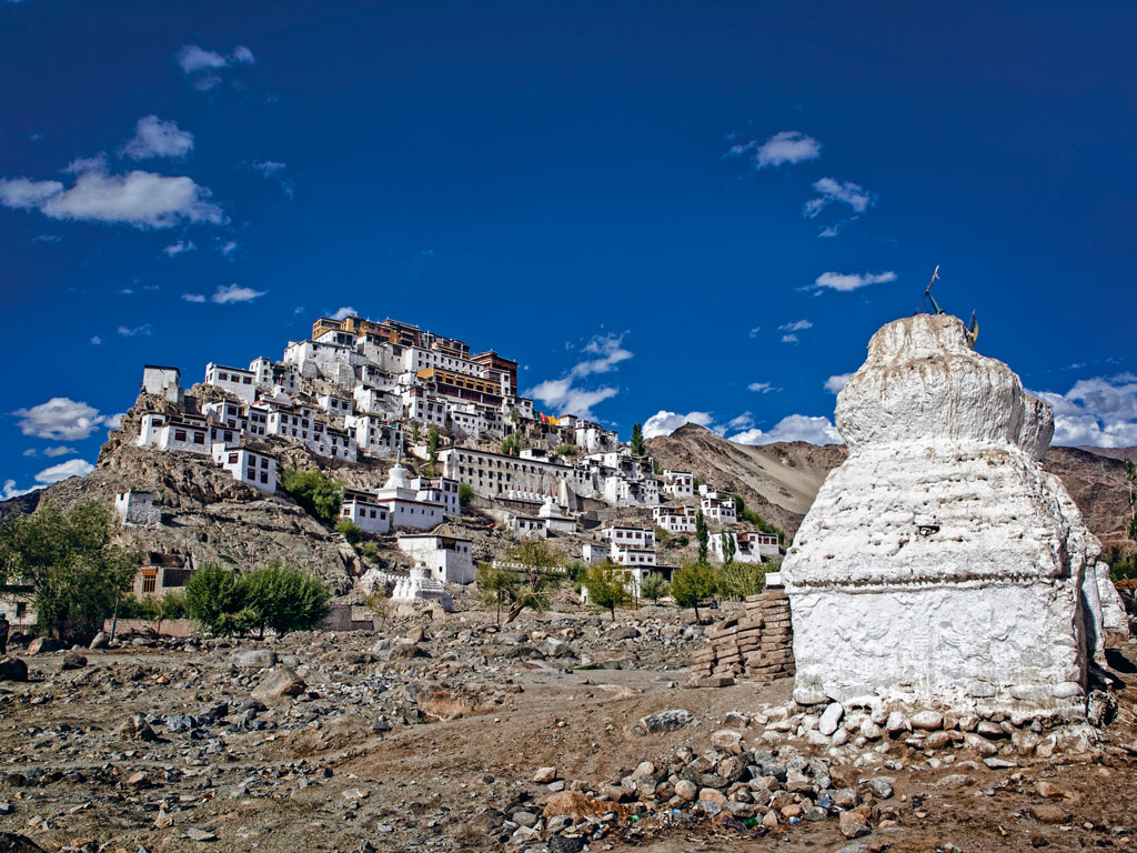 From atop the dining hall terrace, you can spy Thiksay Monastery. Photo by: ~Usergi15632539/Istock