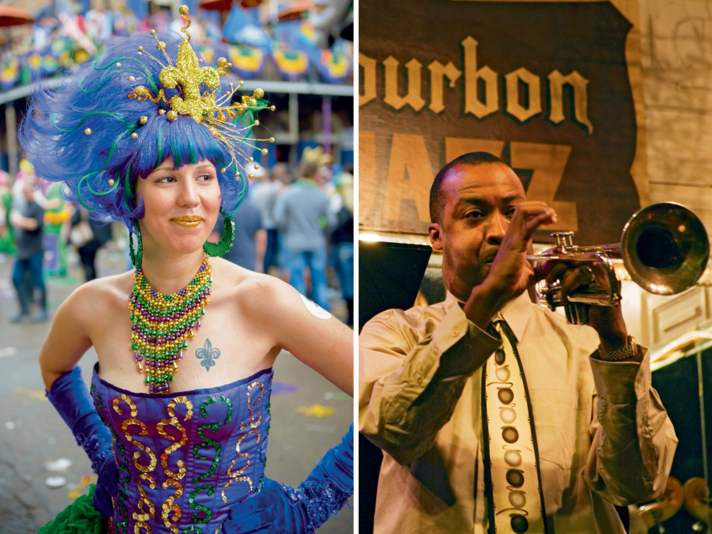 Clubs like The Maison (right) on Frenchmen Street pulse with swing bands and dancers; The city is famous for Mardi Gras, a festival marked by wild parties and carousers (left) in costumes. Photos by: Jcarillet/istock (woman), Franz Marc Frei/LOOK-foto/LOOK/Getty images (man)