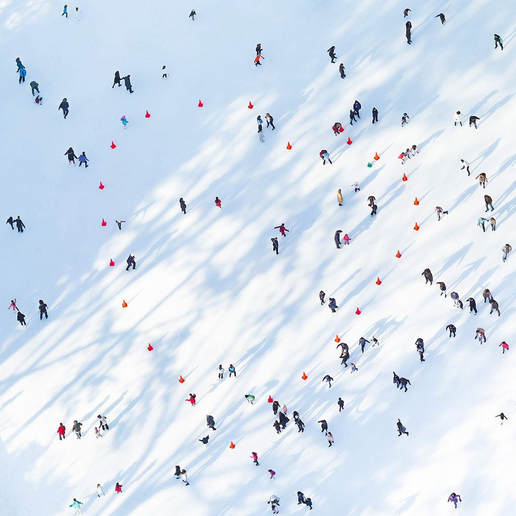 """Love of the Rink"" from the Up In The Air series. Rose didn't notice the shape these red cones made until after he shot the photo. Photo: Antoine Rose"