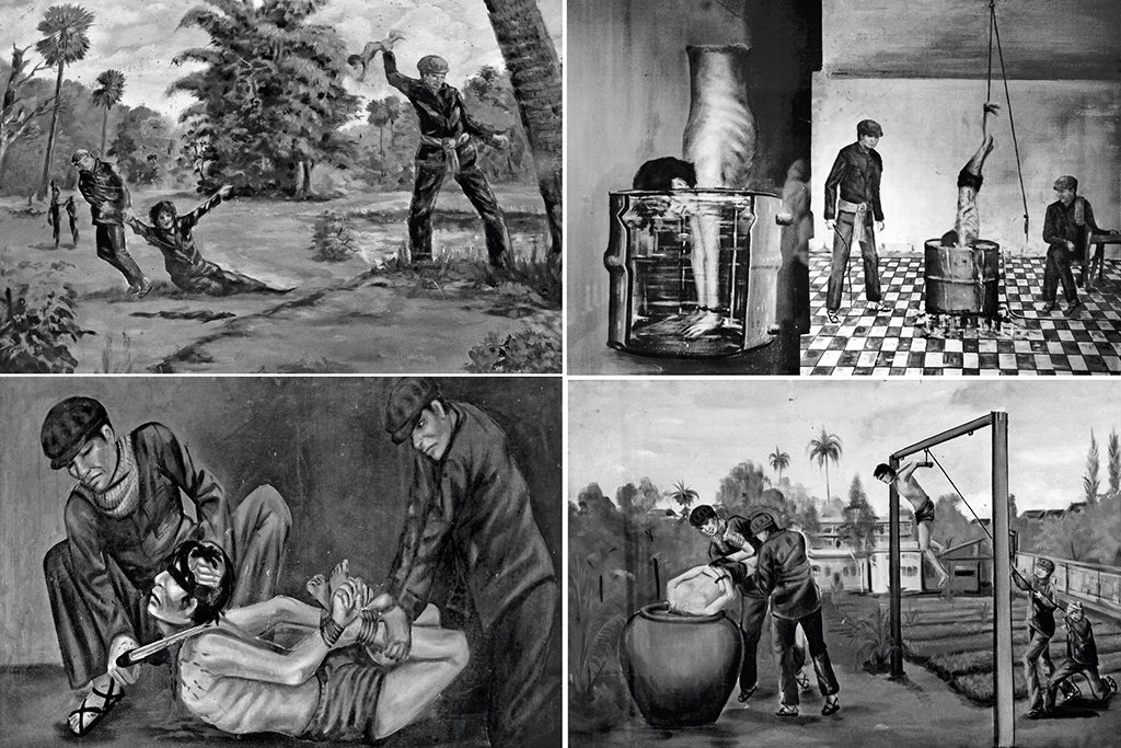 Cambodia painter Vann Nath is among a handful who survived S-21. His paintings (above) depict brutal techniques of torture used in the prison. Photo: Pietro Scozzari/ Age Fotostock/ Dinodia (pulling man); Antony Giblin/ Getty Images (upside man); Sean Sprague/ Age Fotostock/ Dinodia (hanging in field and slitting throat)
