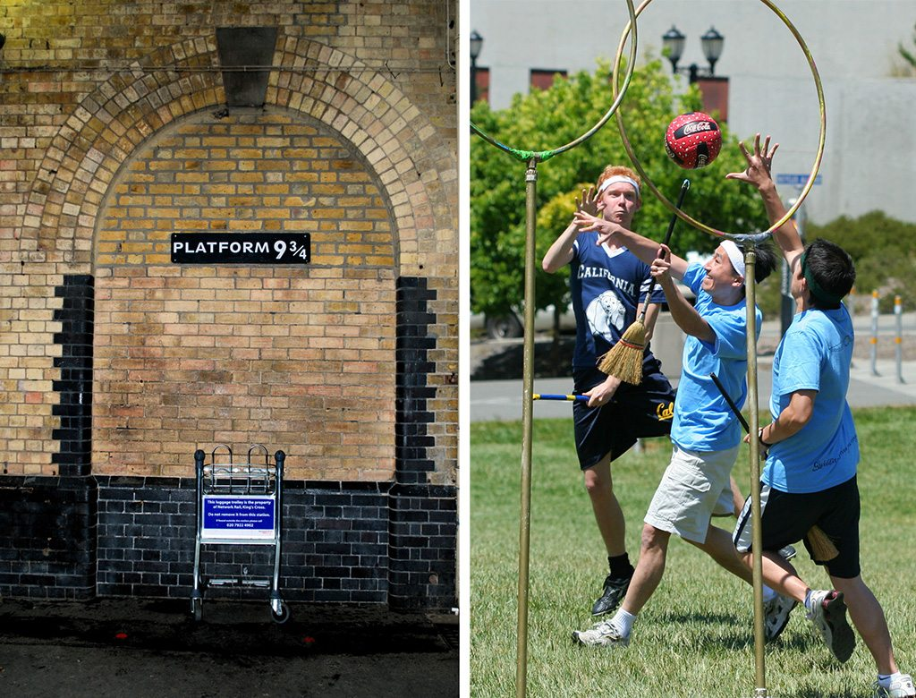 Pass through this wall (left) if you can, to get to the Hogwarts Express, but serious quidditch players (right) can get together for the World Cup every year. This photo is for illustrative purposes only. Photo: Laura Bittner/Flickr/Creative Commons (wall) John Morgan/Flickr/Creative Commons (quidditch) (http://bit.ly/1jxQJMa)