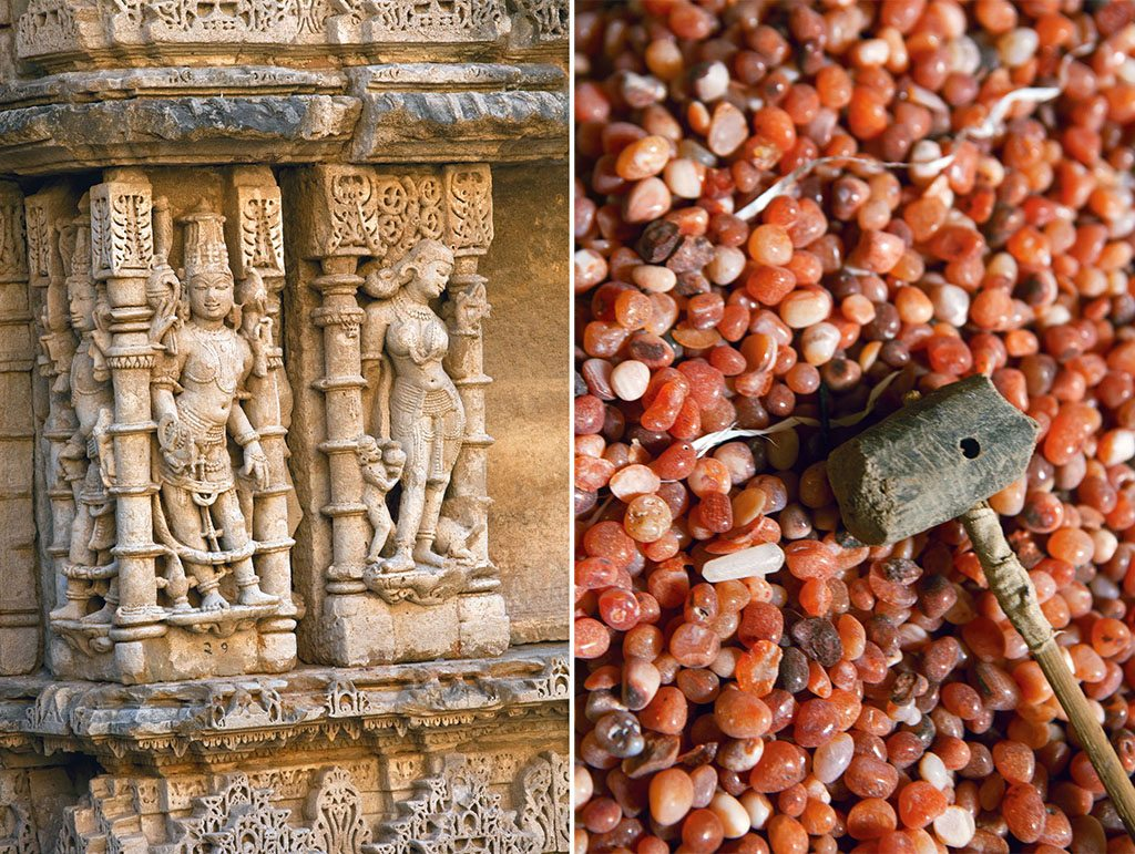 Other wonders along the way include the beautiful stepwell Rani ki Vav near Patan. Intricate sculptures of gods from the Hindu pantheon adorn the walls of the stepwell; At Khambhat, 80 km from Lothal, craftsmen continue to make carnelian beads the way they were made by the bead-makers of Lothal millennia ago. Both then and now, the beads are a valuable export. Photos: Kaushal Parikh