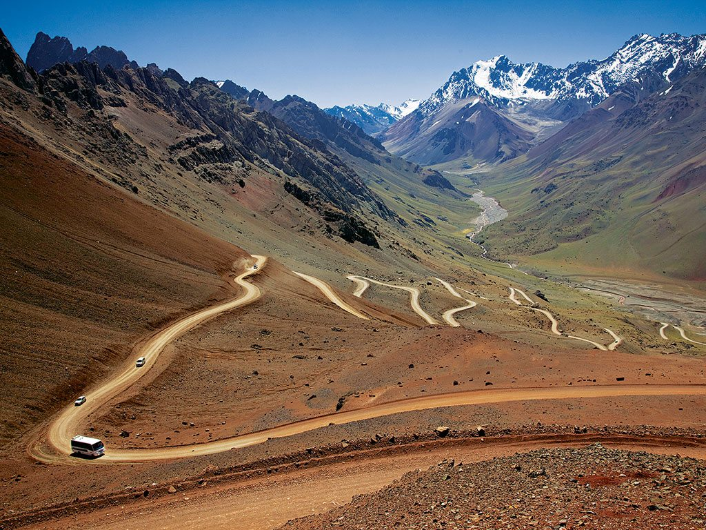 The Trans-Andean Highway between Argentina and Chile covers disparate landscapes. Photo: Walter Bibikow/Getty Images