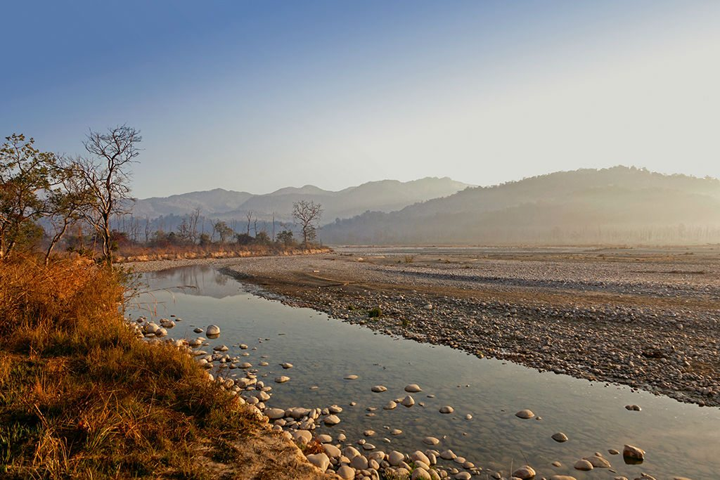 The Ramganga River, which flows through Jim Corbett National Park located in the foothills of the Himalayas, is the first of many rivers and spectacular views that were part of this summer road trip to the mountains. Photo: Fotofeeling/Westland61/Corbis/Imagelibrary