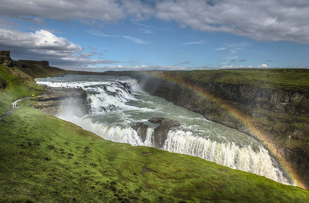 Rainbow over the Gullfoss waterfall located in the Hvita river canyon in southwest Iceland. Photo: Eric Girouard/Corbis