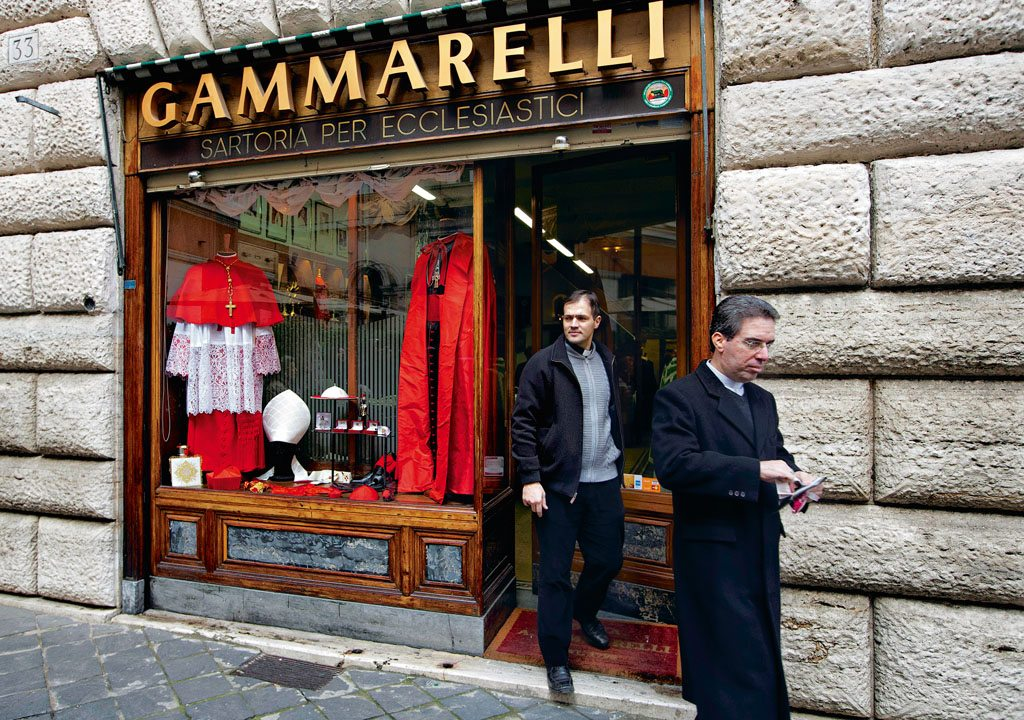 Clerical garments at the Gammarelli shop, Rome. Photo: Andrew Medichini/Ap Images