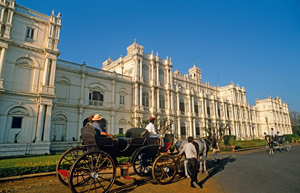 Several wings of the Jai Vilas Palace, which was loosely modelled on the Palace of Versailles, now comprise the Jiwaji Rao Scindia Museum. Photo: Indiapicture