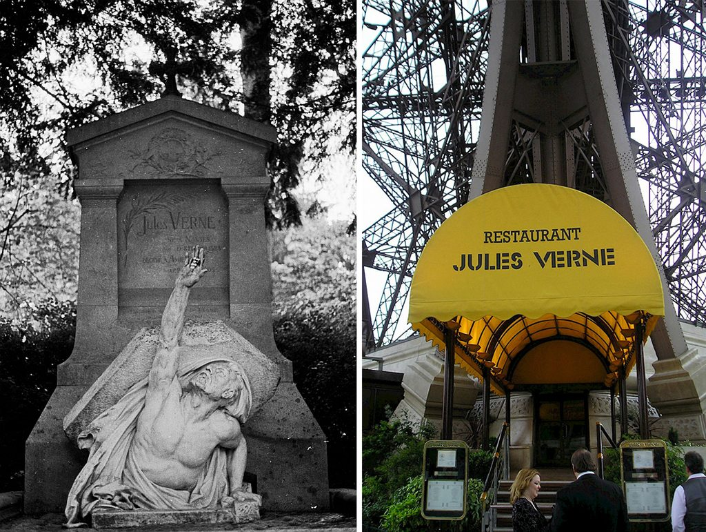 An image of Verne's tomb (left) appeared on the index page of the early issues of Amazing Stories magazine; This French restaurant (right) is located at the top of the Eiffel Tower. Photo: Photo: LepoSs/Flickr/Creative Commons (tomb), James Qualtrough/Flickr/Creative Commons (restaurant) (http://bit.ly/1jxQJMa)