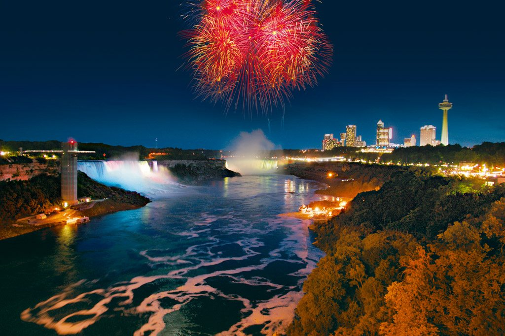 Night cruise Niagara Falls Fireworks Lights