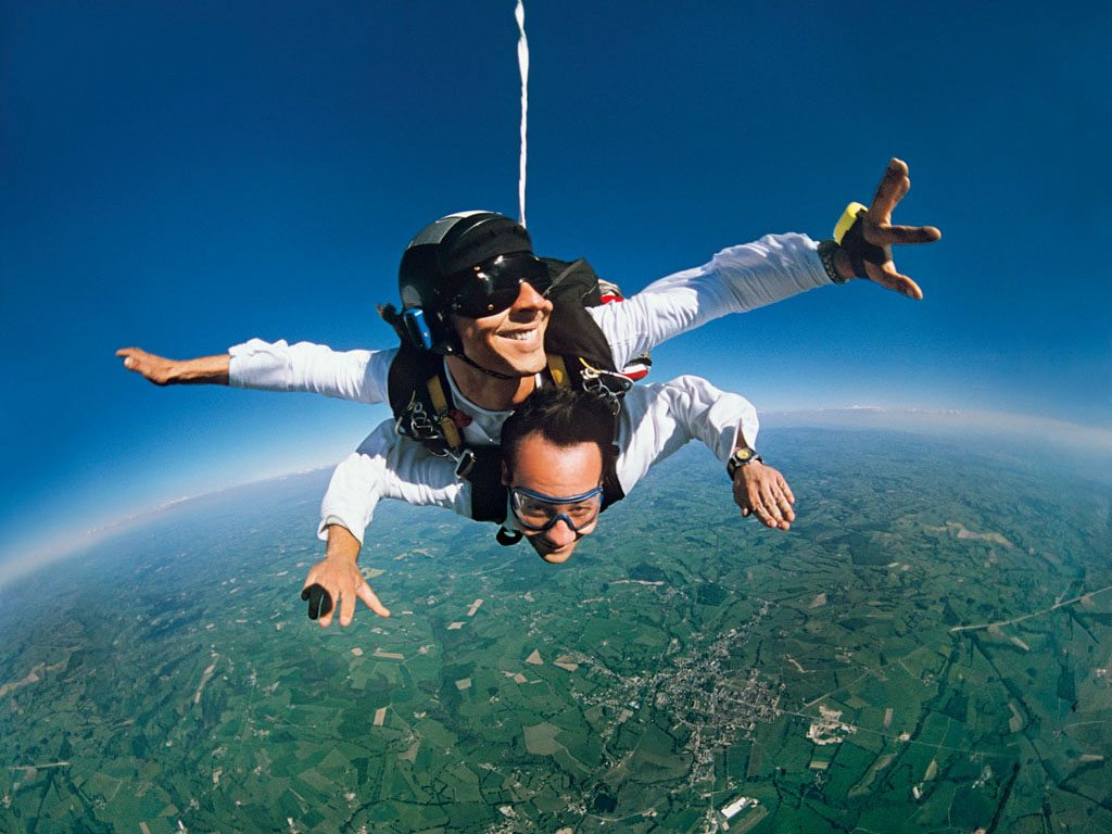 free-falling while skydiving
