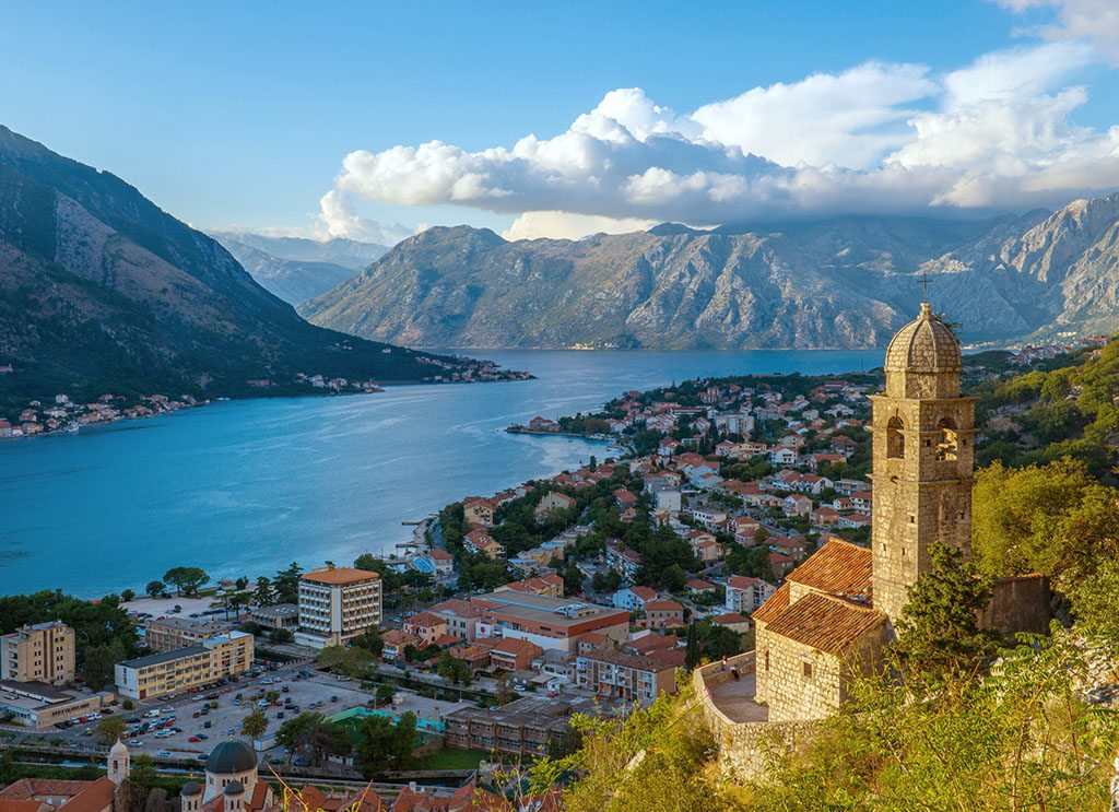 Belltower and view of Kotor along the St. Giovanni Trail