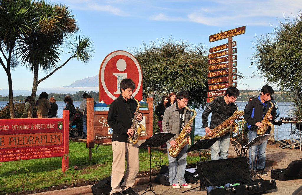 Lakeside musical performances are common in Puerto Varas, while the town of Frutillar nearby holds a legendary, annual classical music festival. Photo: Pablo Corral Vega