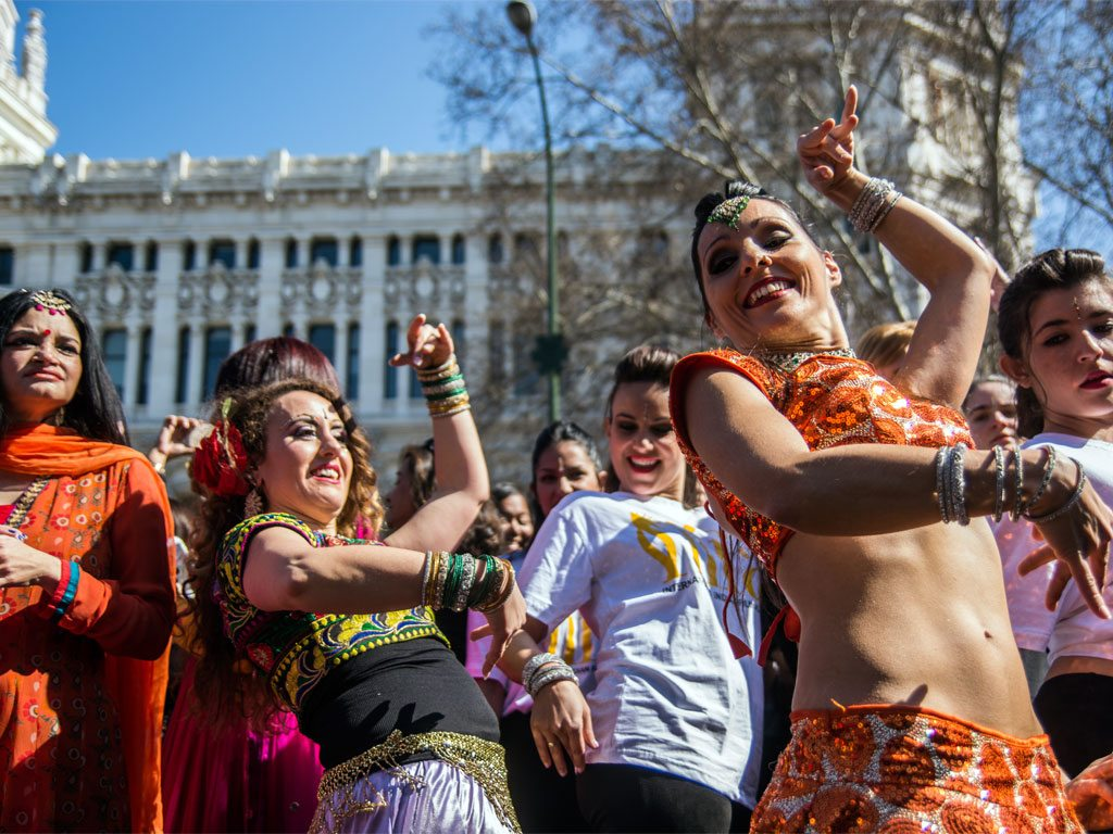 A flash mob goes Bollywood in Madrid, Spain. Photo: Herman Lumanog/Getty Images