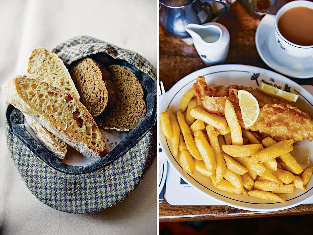 Harome's Star Inn and restaurant brandishes its English country setting, from fresh-baked bread (left); Chips (right) at The Magpie Café. Photo: John Kernick