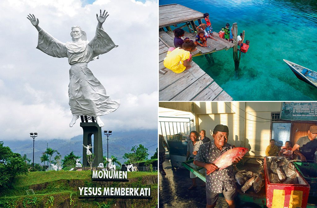The Yesus Memberkati monument in Manado (left) is said to be the world's second largest statue of Jesus Christ after Rio de Janeiro's Christ the Redeemer; Red snapper (bottom right) marinated in chilli paste and roasted or fried is a popular snack specially with locals (top right). Photo: Wibowo Rusli/Lonely Planet Images/Getty Images(monument), Suzanne Long/Alamy/Indiapicture (children), Paul Kennedy/Lonely Planet Images/Getty Images( man with fish).