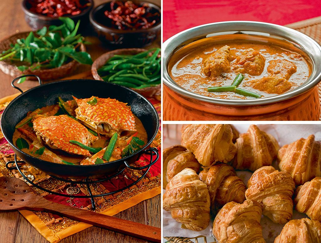 The culinary scene in Pondicherry includes croissants (bottom right) that hail back to the city's time as a French colony, and a Chettinad influence that's noticeable in crab (left) and chicken curries (top right). Photos: Simon Reddy/Alamy/Indiapicture (crab curry); CSP_Solomonjee/Fotosearch LBRF/Dinodia (chicken curry); Michael Melford/National Geographic/Getty Images (croissant),