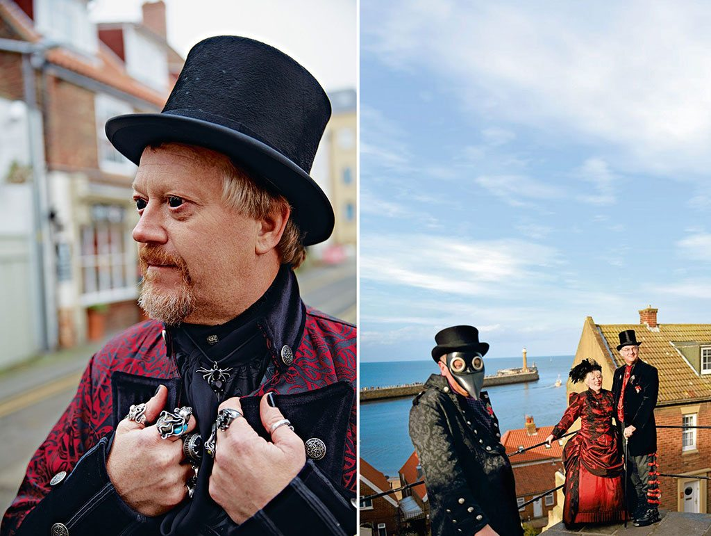 People come to the biannual Whitby Goth Weekend from around the world to celebrate the dark literary history of this Yorkshire town. The streets are abuzz with revellers in dramatic 19th- and 20th-century costumes. Photo: John Kernick