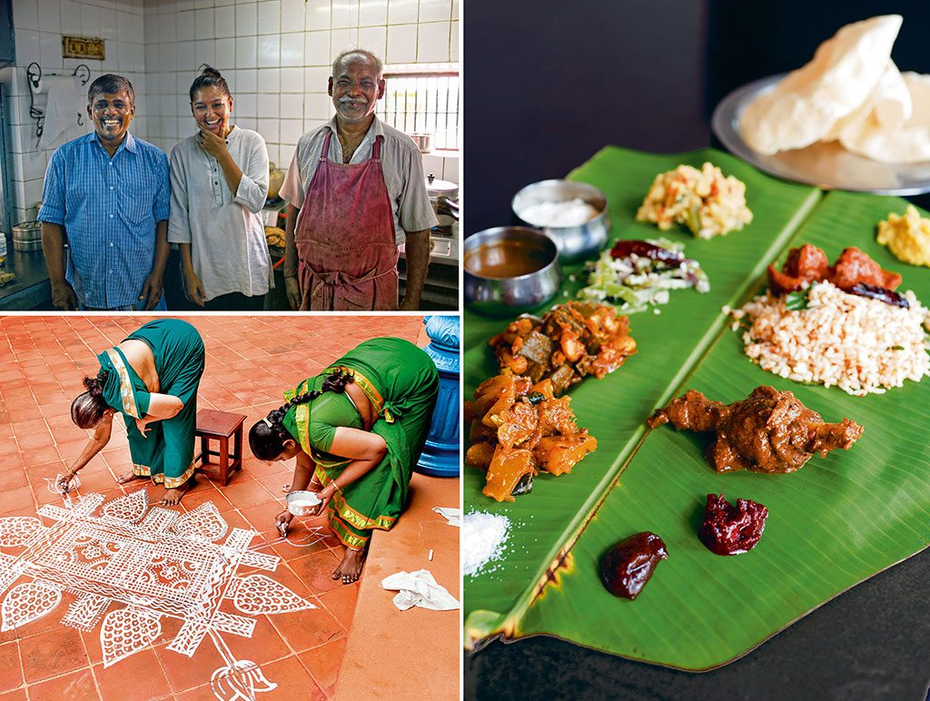 Pandey (left) and Karuppaiyah (right) goofing off with the writer (centre) after a sweaty cooking class (top left); Traditional Chettiar mansions have at least four courtyards that are usually large, tiled, and open to sky. On festive occasions, the women of the house decorate the floor with rangolis (bottom left) made with rice powder; Lunch and dinner at The Bangala are served on banana leaves (right). Photos: Vahishta Mistry (people); Cornfield/Shutterstock (women); Leisa Tyler/Contributor/Getty Images