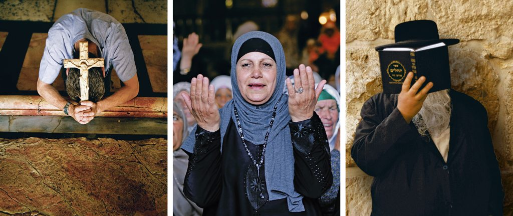 Jerusalem is the holy land for Christians, Muslims, and Jews and has sites sacred to all three faiths. Photos: Godong/Robert Harding/Dinodia (cross); Ahmad Gharabli/Staff/AFP/Getty Images (woman); Robert Gallagher/Aurora Photos/Dinodia (man)