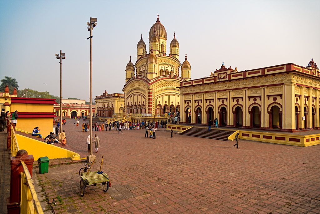 This is the famous Ma Kali temple in Dakshineshwar early one morning. The temple was established in 1855 just outside Kolkata.