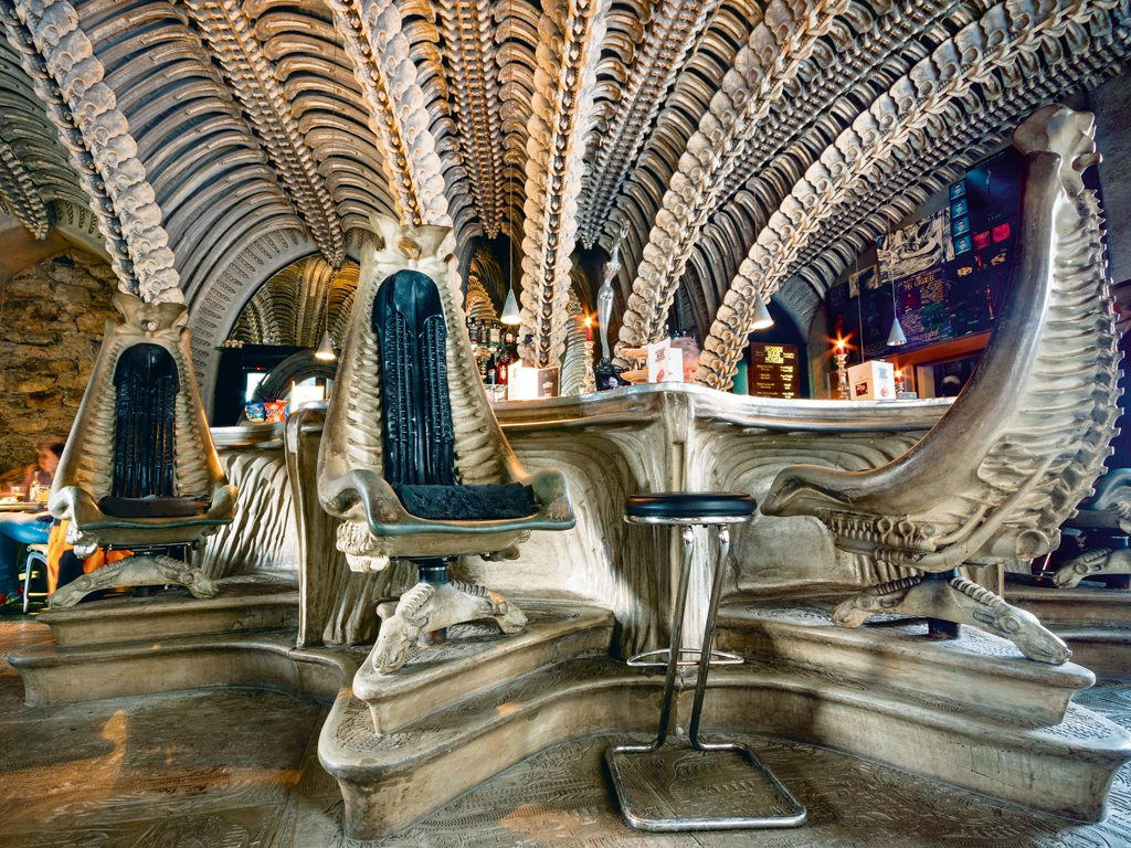 Round off exploring Gruyères with a pint or boozy hot chocolate at the Alien-themed bar opposite the Museum HR Giger. Its surreal decor is inspired by the movie that shot H.R. Giger to fame. Photo: Fat Jackey/Shutterstock
