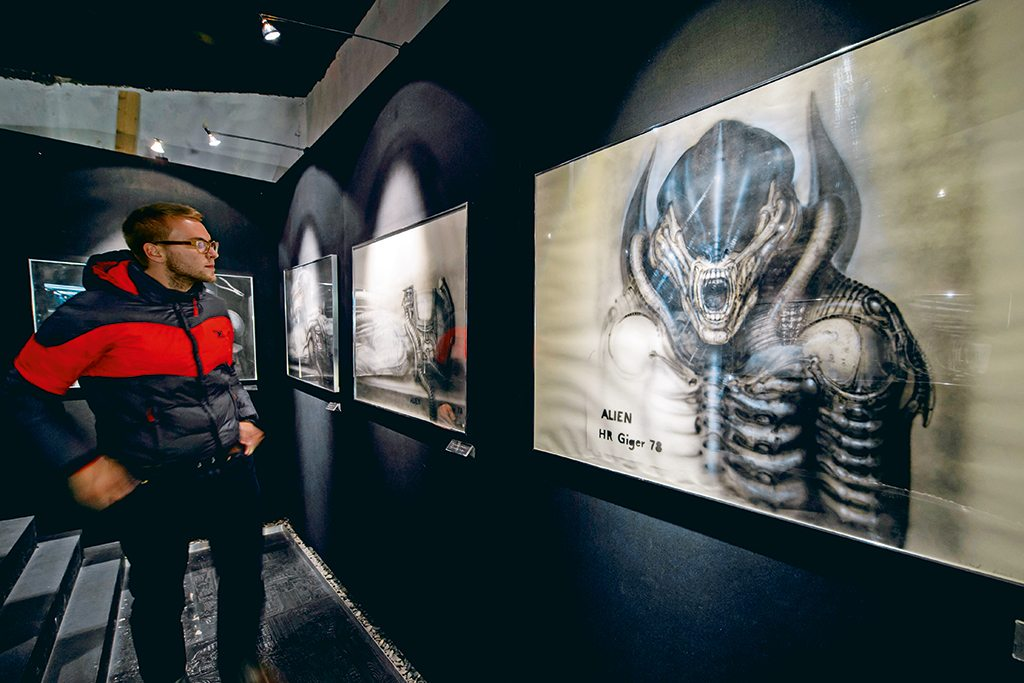 "Gruyères' more outlandish tourist draws include artworks of extraterrestrial creatures designed by Swiss artist H.R. Giger, including those for the film ""Alien"". They are on display at Museum HR Giger. Photo: Abrice Coffrini/Staff/AFP/Getty Images"
