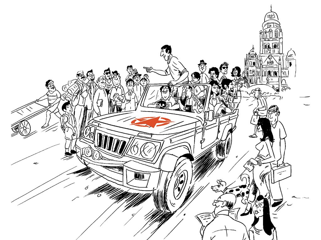If you can't beat the traffic, join it! The Urban Safari from Khaki Tours introduces participants to Mumbai's history from a jeep. Illustration courtesy Khaki Tours
