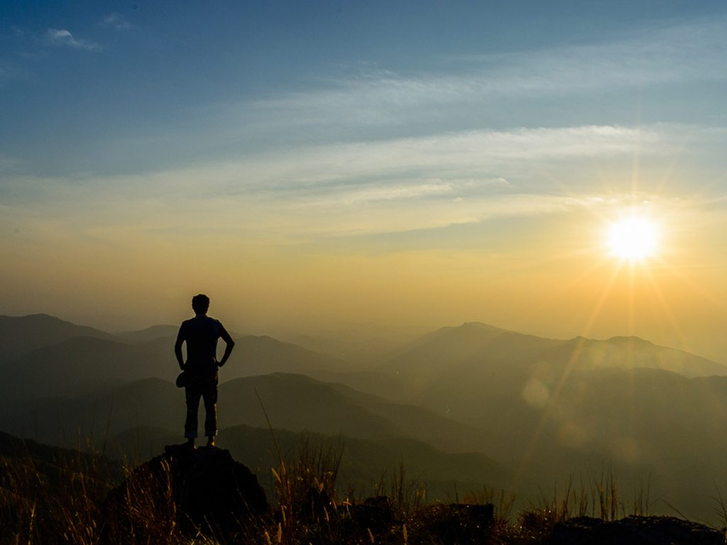 Watching a sunrise from the top of a mountain is a memorable way to start the day, as this hiker discovered after making his way up Ethina Bhuja, in Karnataka.