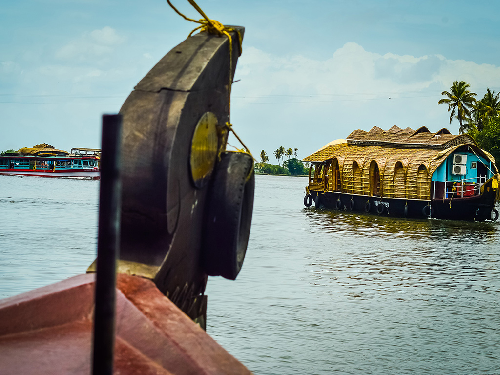 One of the most quintessential Kerala experiences is cruising its backwaters on a houseboat, watching tall coconut trees and quiet villages pass by.