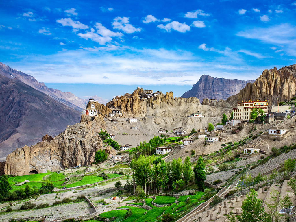Dhankar Monastery, pictured here, has stood on the spur of a mountain in Spiti Valley for over a thousand years. Photo: iStock.com/cookelma