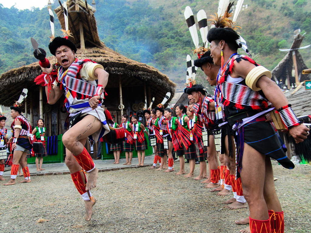 Performers practise at Nagaland's Hornbill Festival in Kisama Village in Kohima. The government-run festival is a crash course in the culture, language, and cuisine of the state's 16 tribes.
