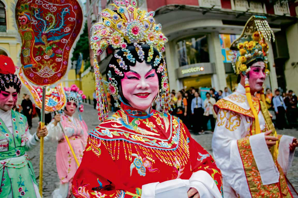 Chinese performers Latin City parade Macao
