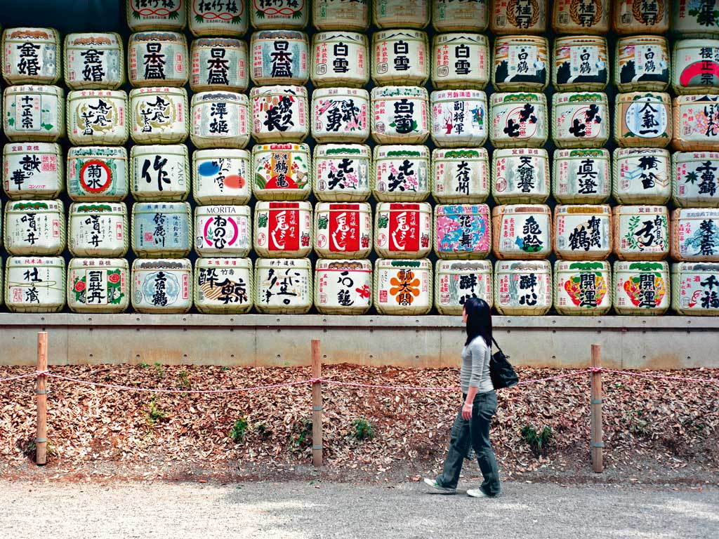 Sake decoration barrels Japan