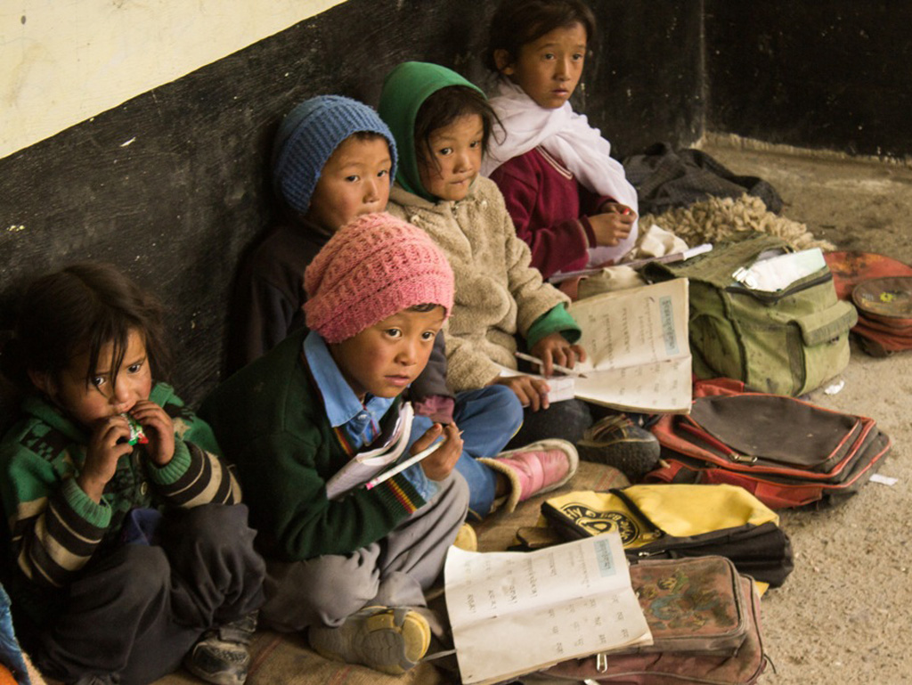 Education is a privilege. These kids are waiting for their teacher in a primary school in Mudh Village, Pin Valley.