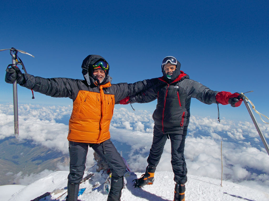 T.M. Krishna and fellow climber Badri Vijayaraghavan, Mount Elbrus in Russia