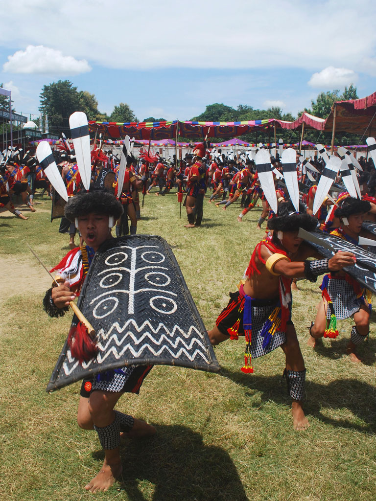 Tribal Ao Naga men perform a warrior dance during the Tsungremong festival Photo by STRDEL/AFP/Getty Images.