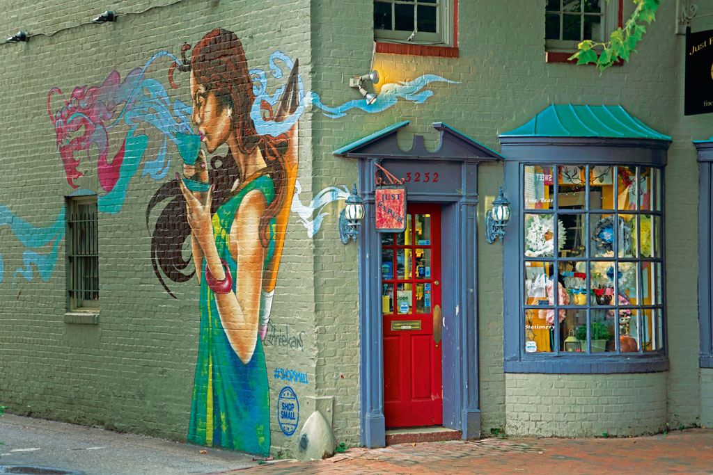 Georgetown is Washington, D.C.'s all-purpose neighbourhood. The district has high-end shops, trendy restaurants and renowned bars. The buildings here are pretty, and their graffiti and murals inventive.