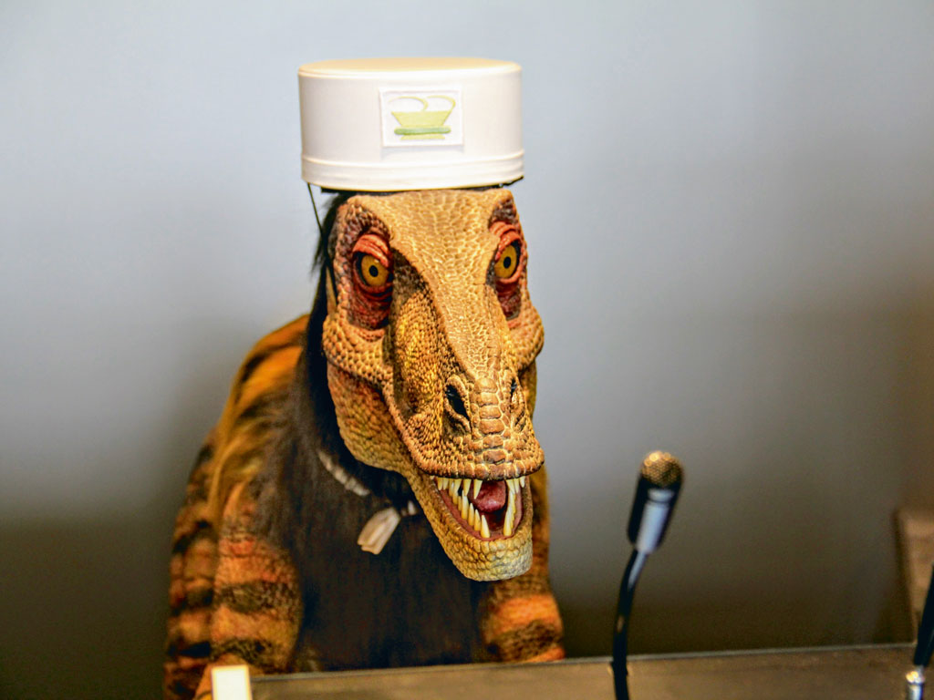 The robotic velociraptor is the English-speaking attendant at the hotel's reception. Photo courtesy: Henn na Hotel