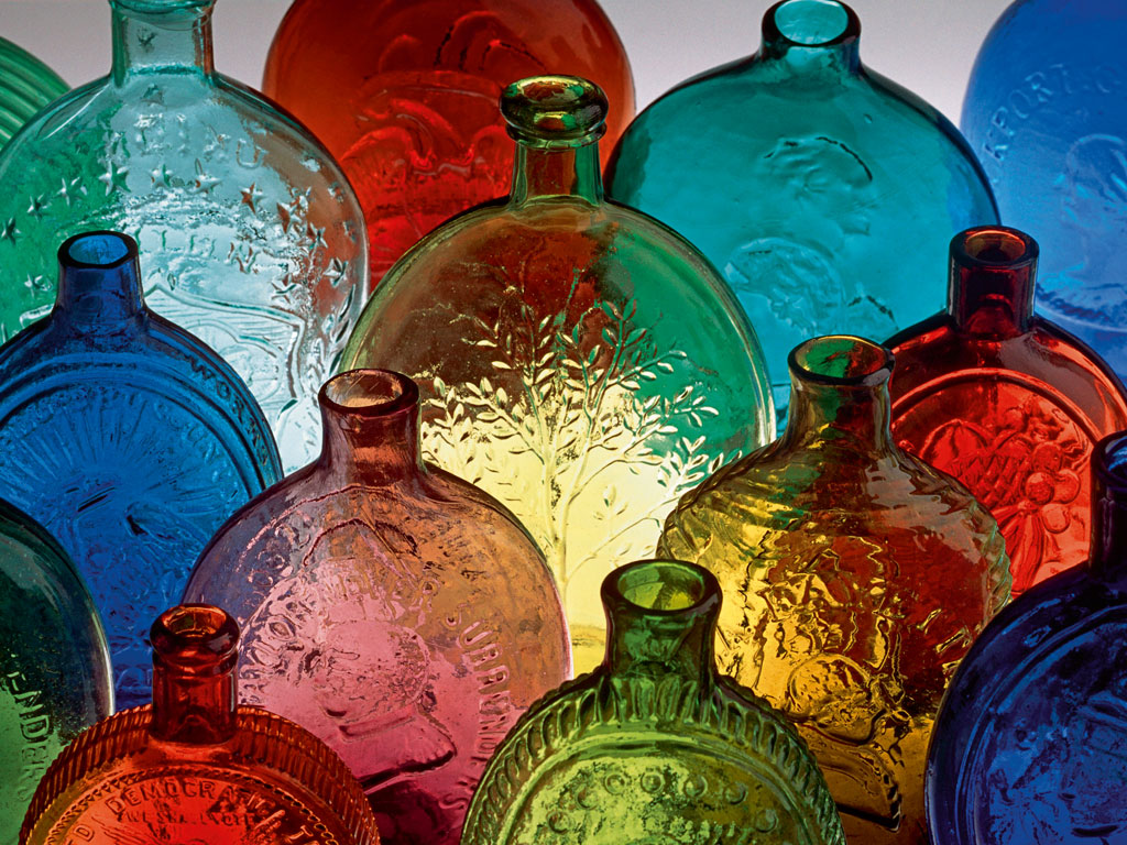 The Corning Museum of Glass is a must-visit for the sheer variety of objects it displays, like these 19th-century whisky bottles. Photo by: james l. amos/science source/dinodia photo library