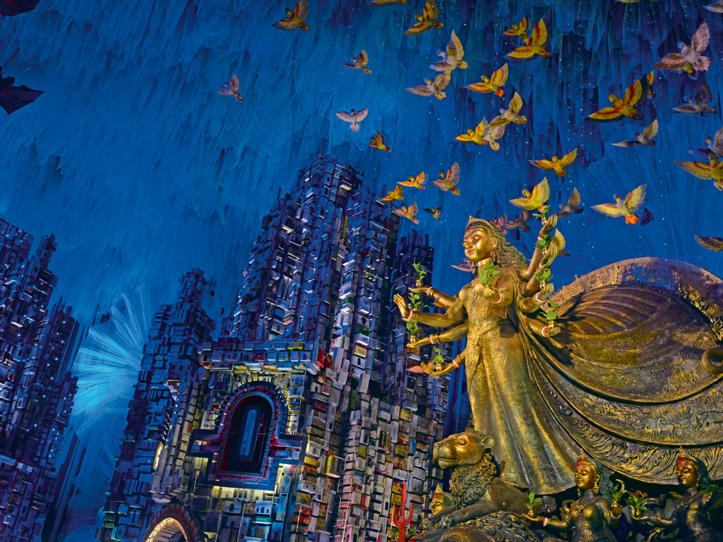 Many South Kolkata pandals are known for extravagant artistry. Photo by Shraddha Bhargava.