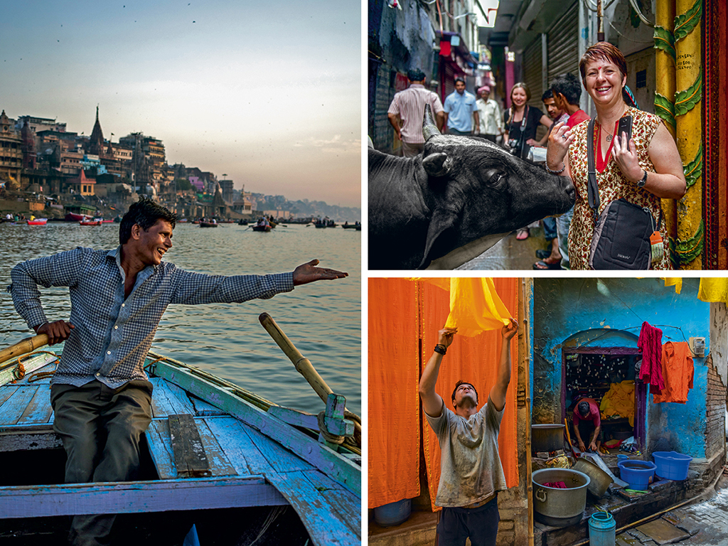 Boatman Bhoomi (left) sings thumri so well that tourists often offer him gigs abroad. He, however, feels Varanasi's ghats will ring empty without his voice; An Australian tourist poses with a 'holy cow' (top right); Dyed clothes are often dried in the city's crammed alleys (bottom right).