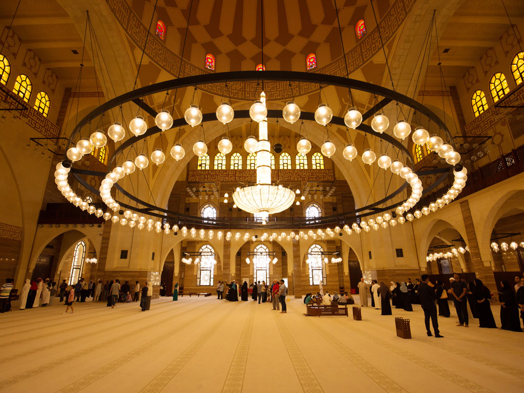 Inside the Ahmed Al Fateh Grand Mosque, the opulence is jaw-dropping. Photo by Dr Ajay Kumar Singh/Shutterstock.