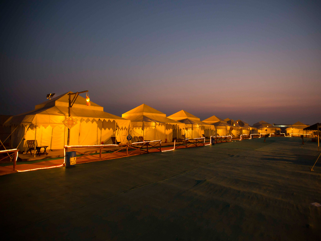 The luxurious tents are welcoming after a day of adventure.